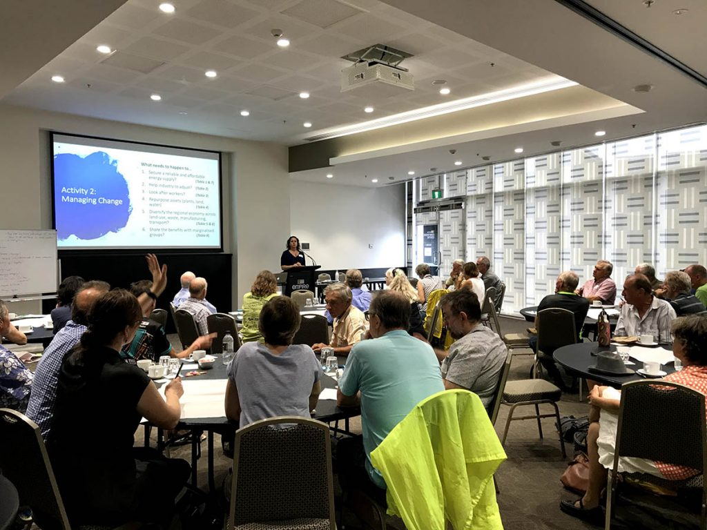 Dr Amanda Cahill speaks at the Queensland Government Energy Transition Roadshow